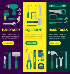 cartoon hand tools banner vecrtical set vector image vector image