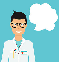 Doctor in in medical uniform and speech bubble vector image vector image