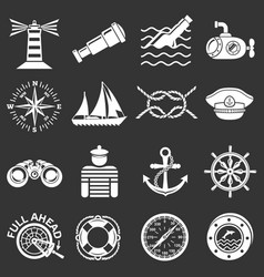 nautical icons set grey vector image