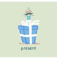 person gives a gift vector image vector image