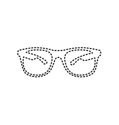 sunglasses sign black dashed vector image