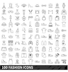 100 fashion icons set outline style vector