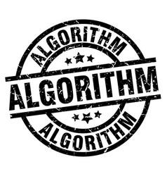 Algorithm round grunge black stamp vector