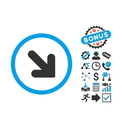 Arrow Down Right Flat Icon with Bonus vector image