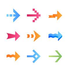 Arrows flat design long shadow color icons set vector