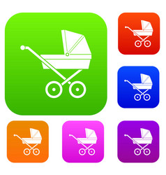 baby carriage set collection vector image