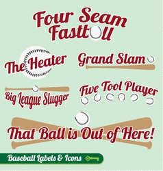Baseball Bat and Ball Labels and Icons with Slogan vector image