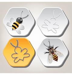 Bee on honeycell vector