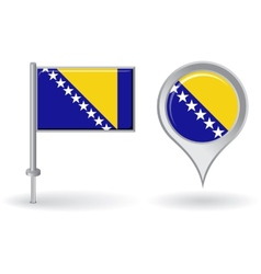 Bosnia and Herzegovina pin icon map pointer flag vector image