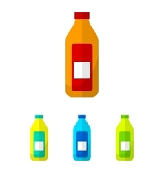 Bottle flat icons set vector image