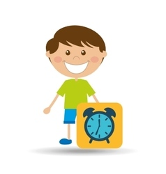 Boy cartoon school clock icon design vector