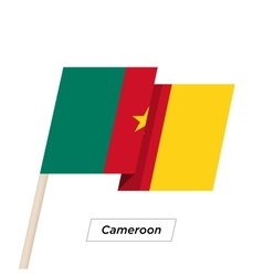Cameroon Ribbon Waving Flag Isolated on White vector image