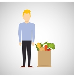 cartoon man blond with shop bag healthy food vector image