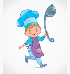 Chef kids with ladle vector