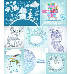 Christmas card big set vector image