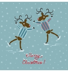Christmas deers on skates vector image