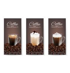 Coffee advertising flyer set realistic vector