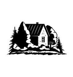 country house among trees vector image