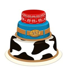 Cowboy party birthday cake vector