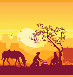 Cowboys around a campfire western american desert vector