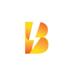 Creative bolt lightning flash letter b symbol logo vector