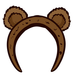 Cute bear ears headband on white background vector