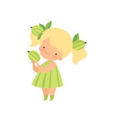 Cute blonde little girl wearing gooseberry costume vector
