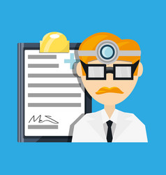 Doctor with head mirror and glasses with medical vector
