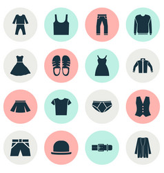 Dress icons set with panama singlet trunks cloth vector