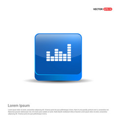 equalizer icon - 3d blue button vector image