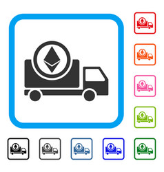 ethereum delivery truck framed icon vector image