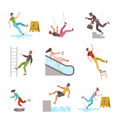 Falling people fall down stairs slipping wet vector