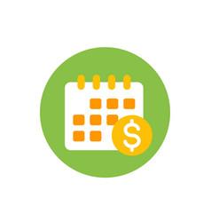 Financial calendar flat icon on white vector