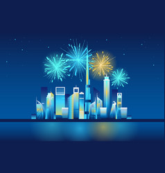 Fireworks in dubai city vector