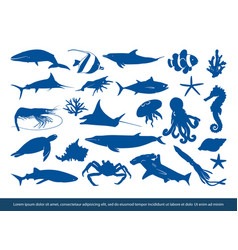 fish and sea animals silhouette image vector image