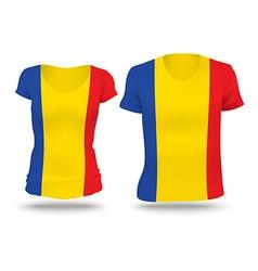 Flag shirt design of Romania vector image