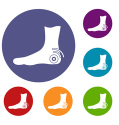 foot heel icons set vector image