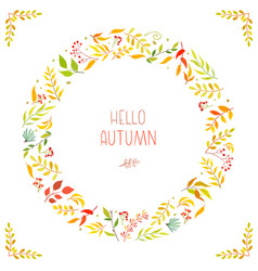 Frame floral branch wreaths leaves autumn vector