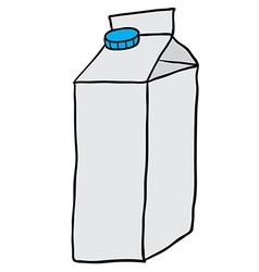 freehand drawn cartoon milk carton vector image