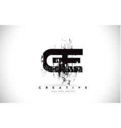 Ge g e grunge brush letter logo design in black vector