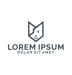 Geometric puppy icon abstract dog logo template vector