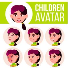girl avatar set kid high school face vector image