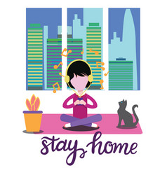 Girl with headphones sitting at home and vector