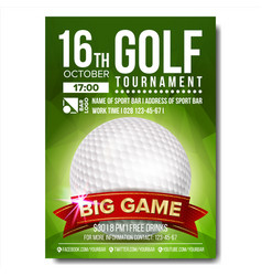 Golf poster golf ball vertical design for vector