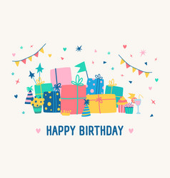 greeting card template with happy birthday vector image