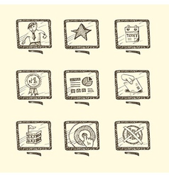 Hand drawn business icon set vector