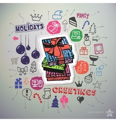 Hand drawn holiday icons set and sticker with gift vector image
