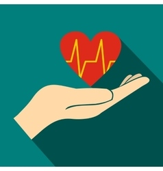 Hand holding red heart with ecg line icon vector