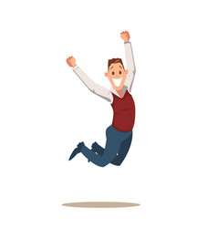happy business man celebrating victory by jumping vector image
