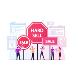 Hard sell promoter characters use policy or vector
